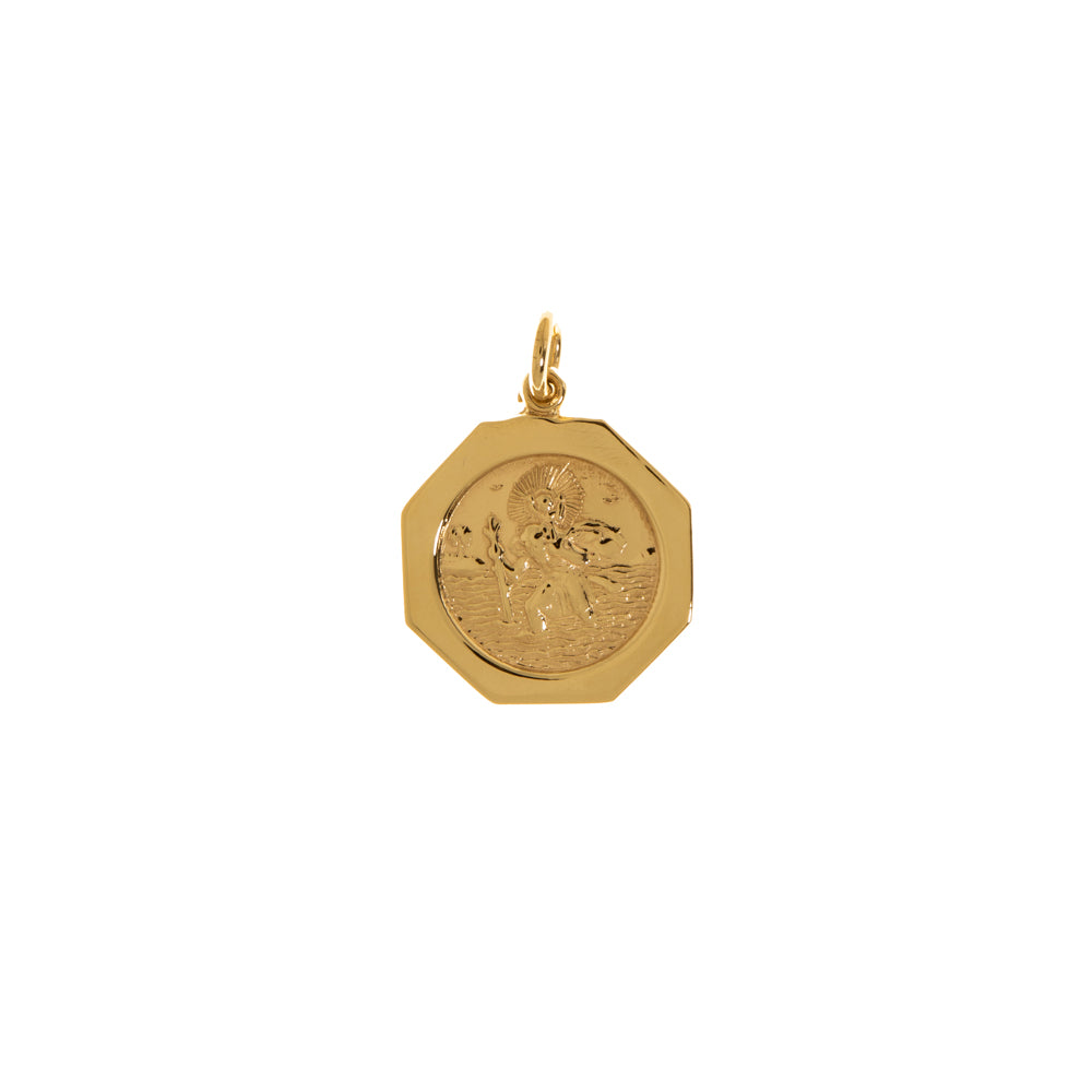 Pre-Owned 9ct Gold St Christopher Octagon Pendant