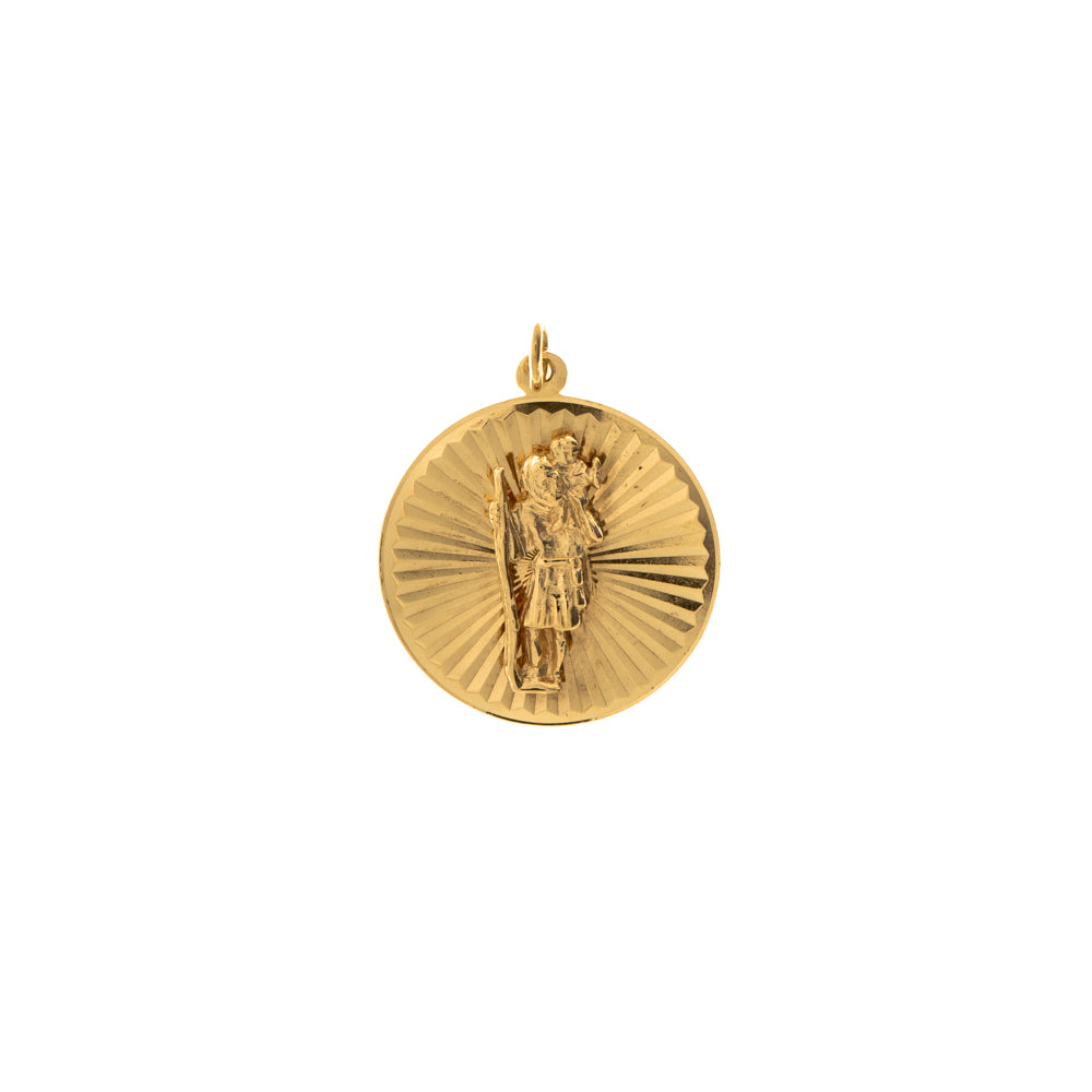 Pre-Owned Gold St Christopher Facet Circle Pendant