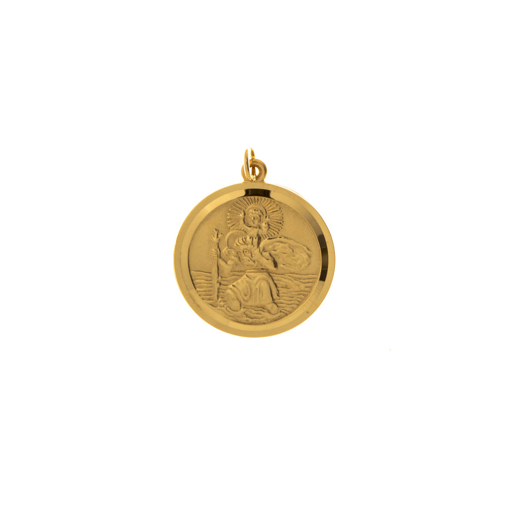 Pre-Owned Gold Matte Round St Christopher Pendant