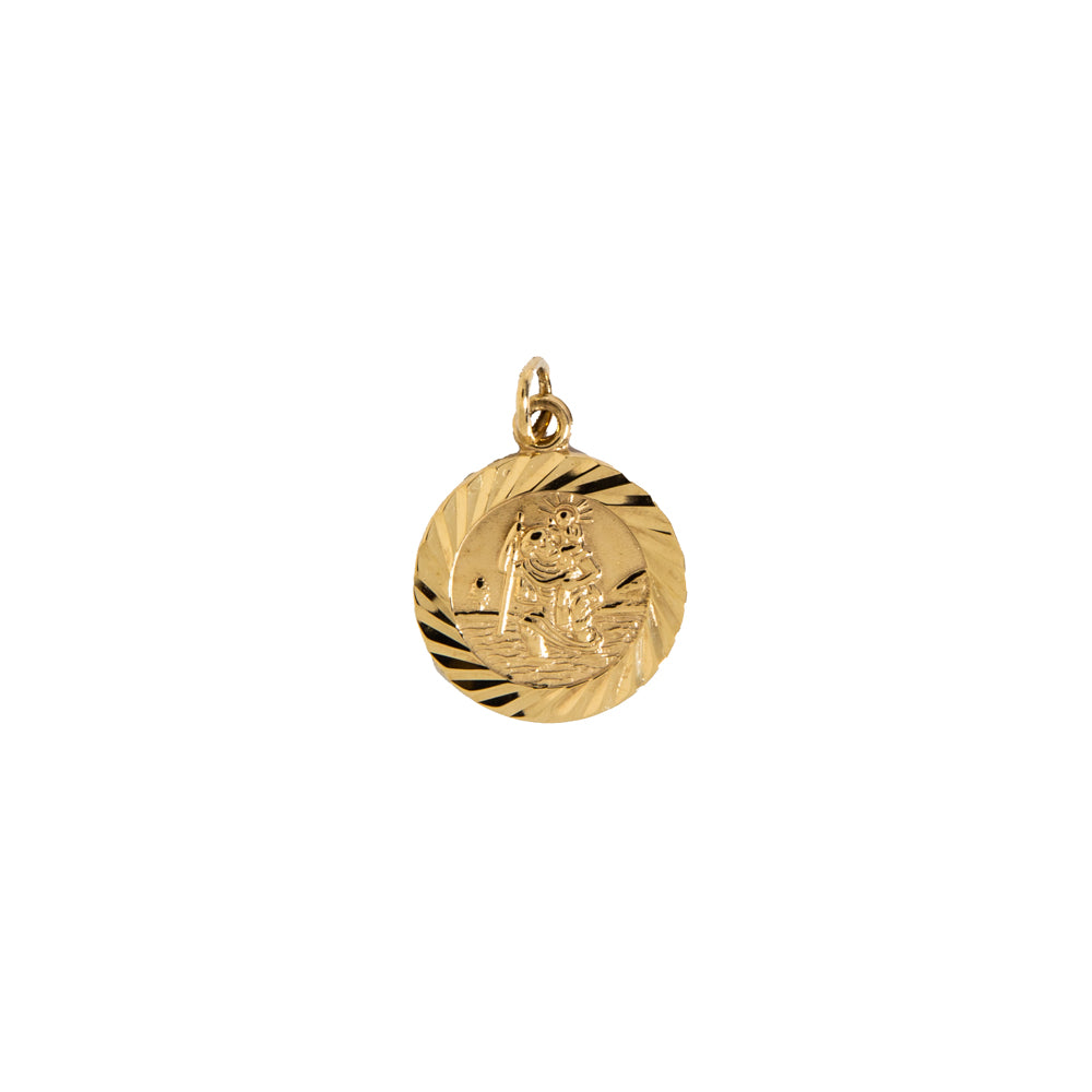 Pre-Owned Gold Small Facet St Christopher Pendant