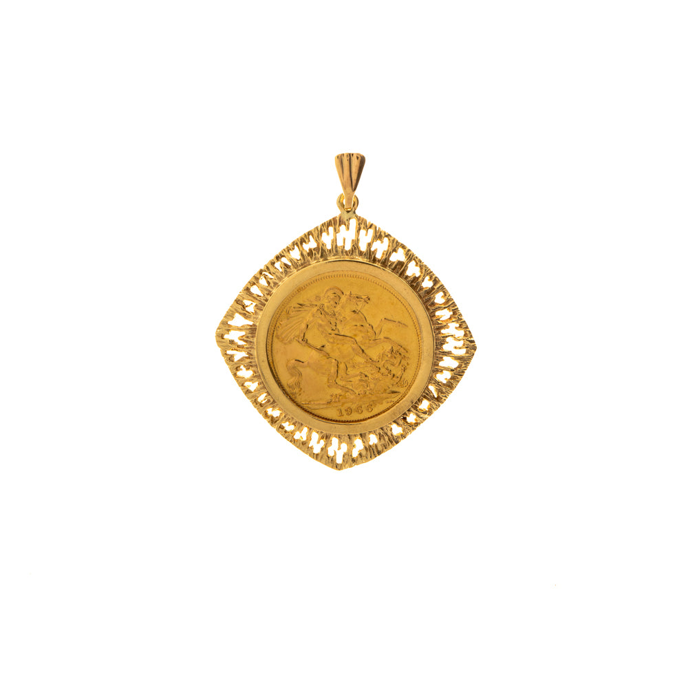 Pre-Owned 1966 Full Sovereign Gold Square Pendant
