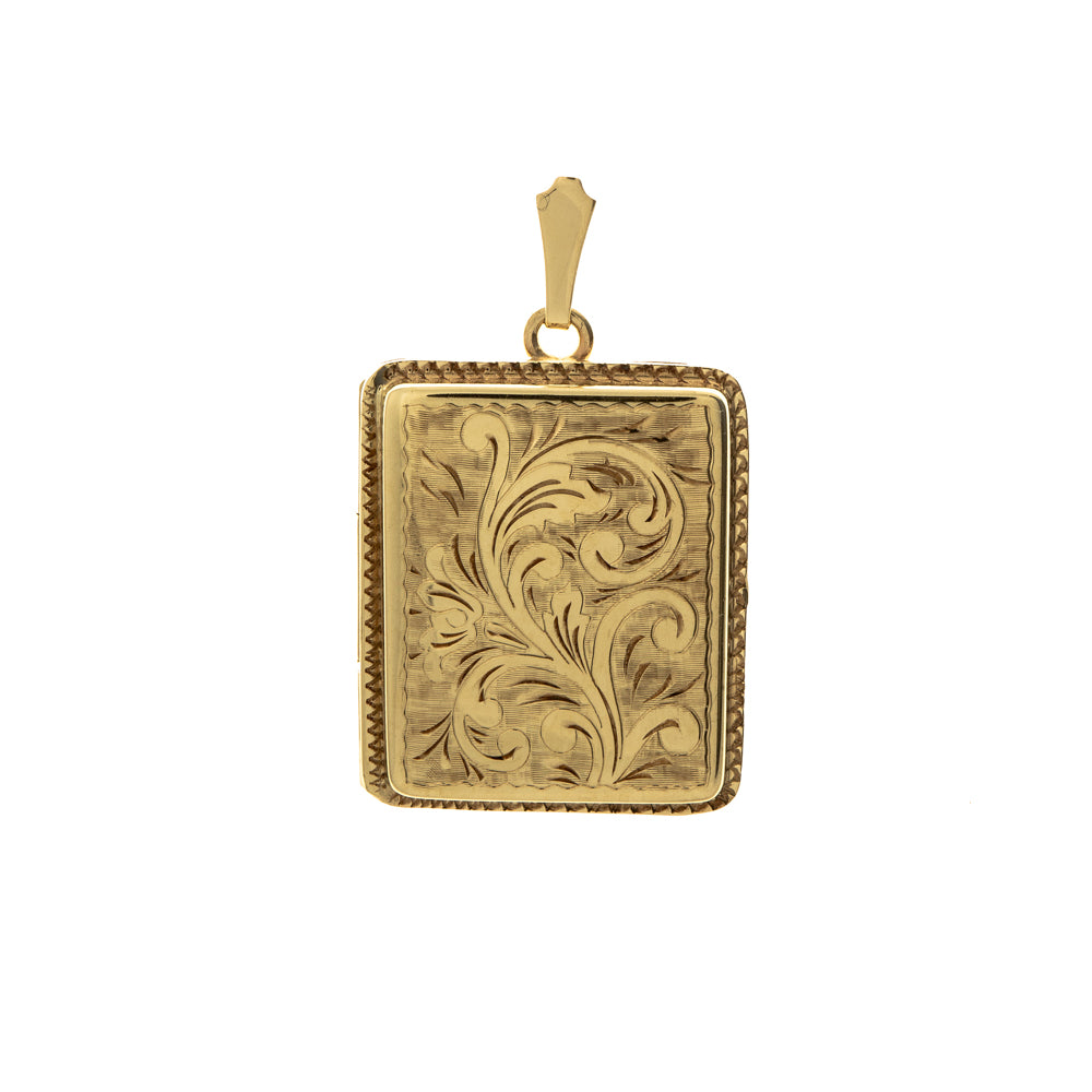 Pre-Owned 9ct Gold Wide Rectangle Floral Locket