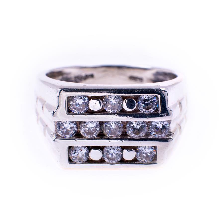 Pre-Owned Silver Cubic Zirconia 3 Row Ring