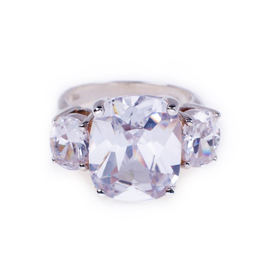 Pre-Owned Silver 3 Oval Cubic Zirconia Dress Ring