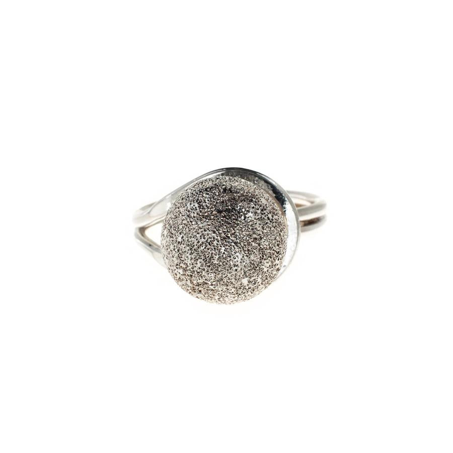 Pre-Owned Silver Large Frosted Ball Dress Ring