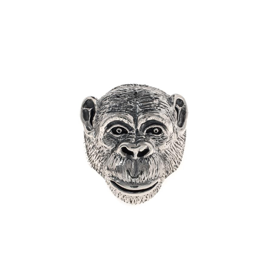 Pre-Owned Silver Chimpanzee Head Ring