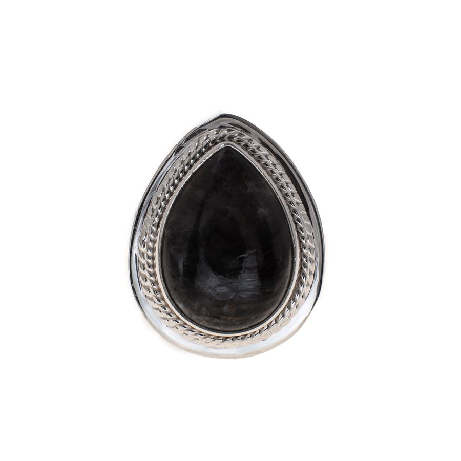 Pre-Owned Silver Pear Cabochon Black Stone Ring