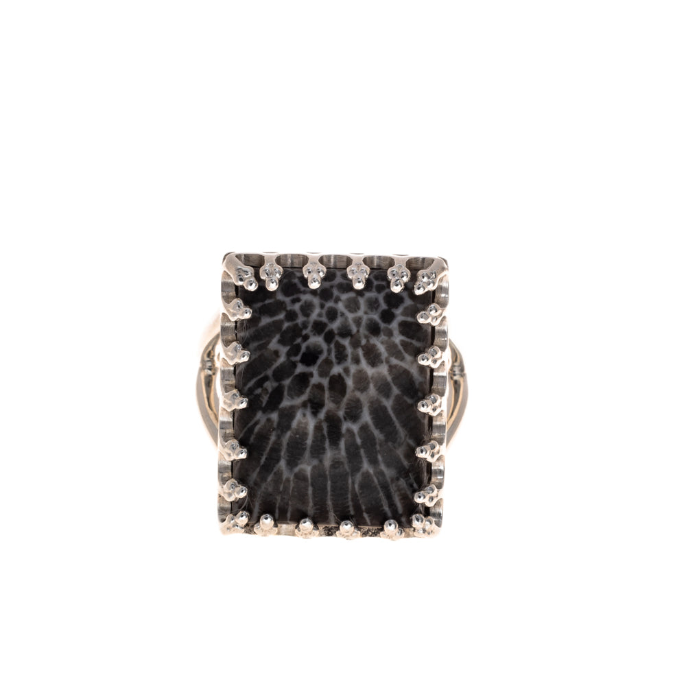Pre-Owned Sterling Silver Black White Pattern Ring