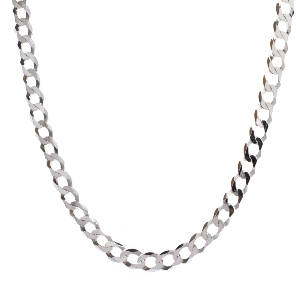 Pre-Owned Sterling Silver Curb Chain Men Necklace