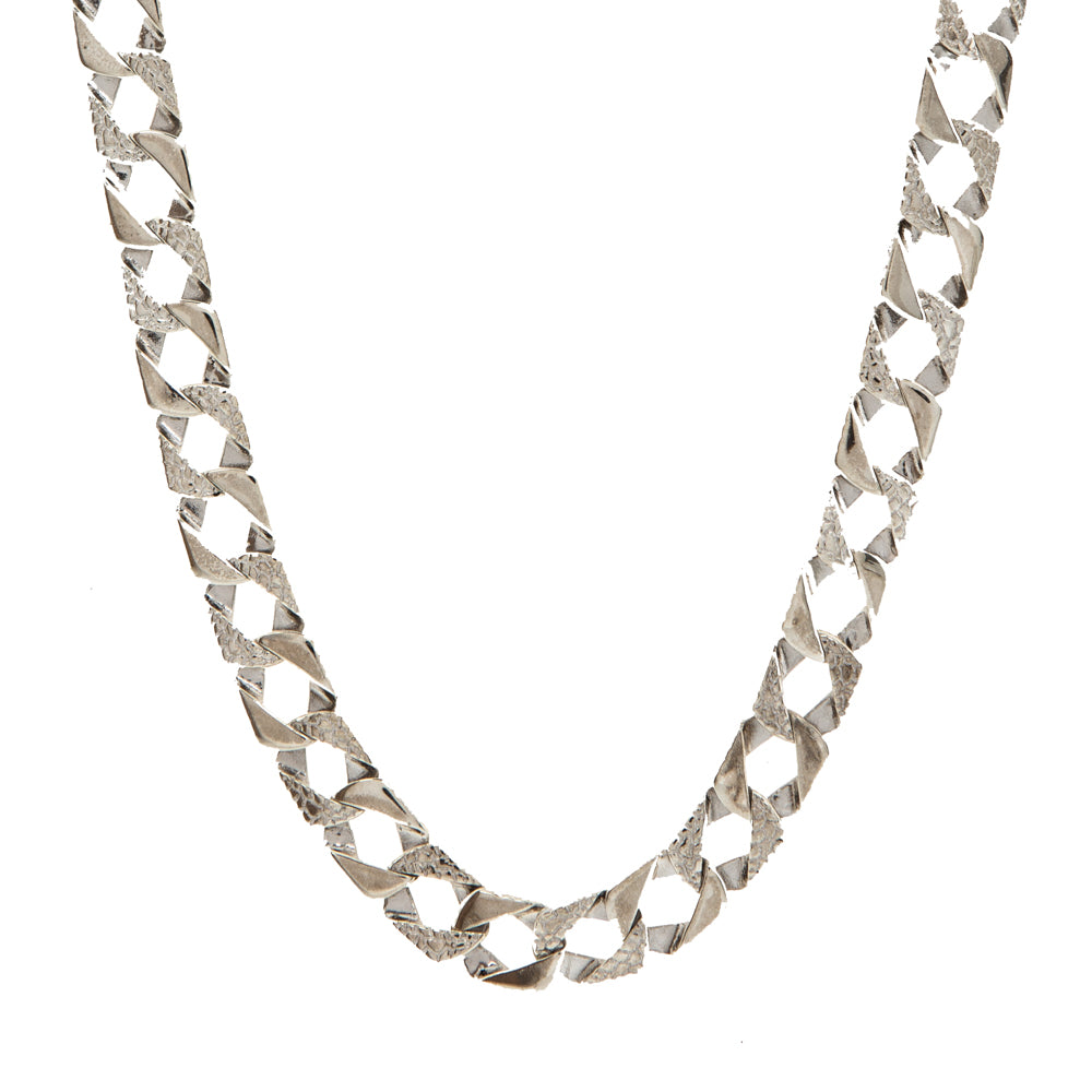 Pre-Owned Silver Plain Barked Square Curb Necklace