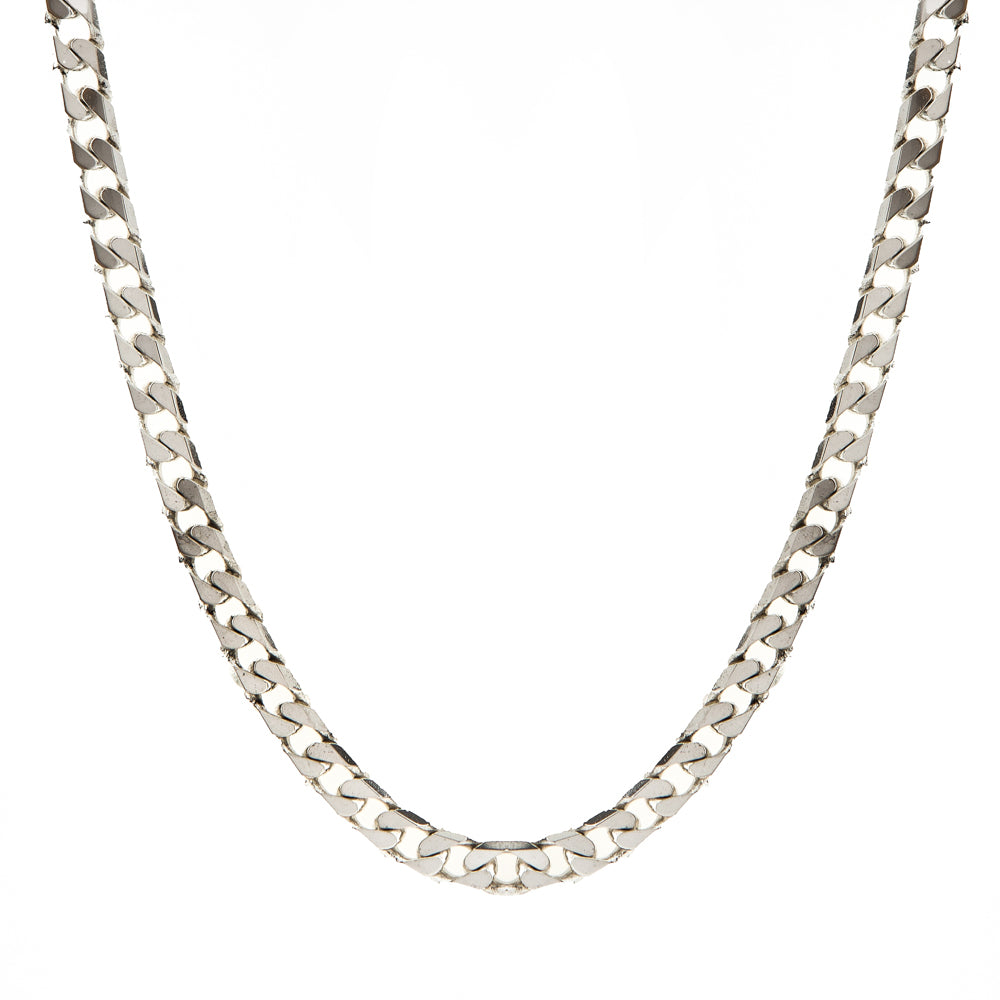 "Pre-Owned Silver 20"" 5mm Flat Oval Curb Necklace"