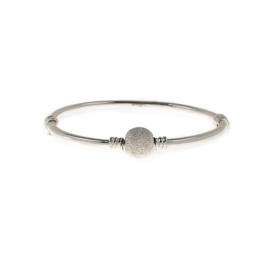 Pre-Owned Silver Frosted Ball Hollow Hinged Bangle