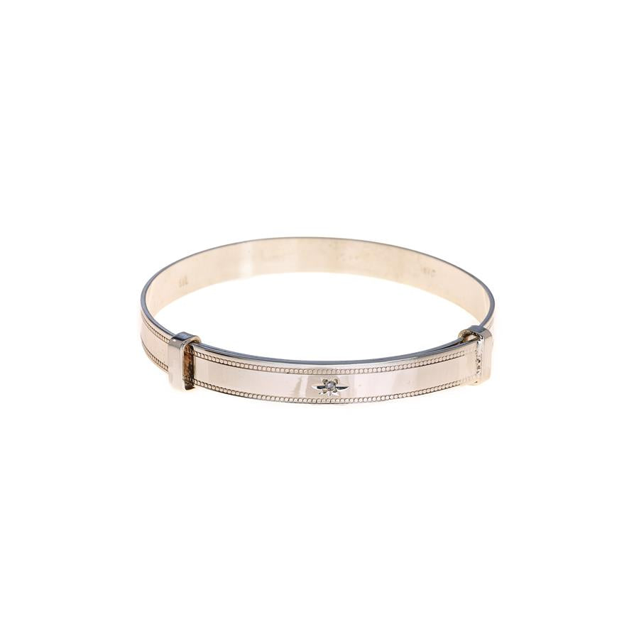 Pre-Owned Silver Milgrain Expandable Baby Bangle