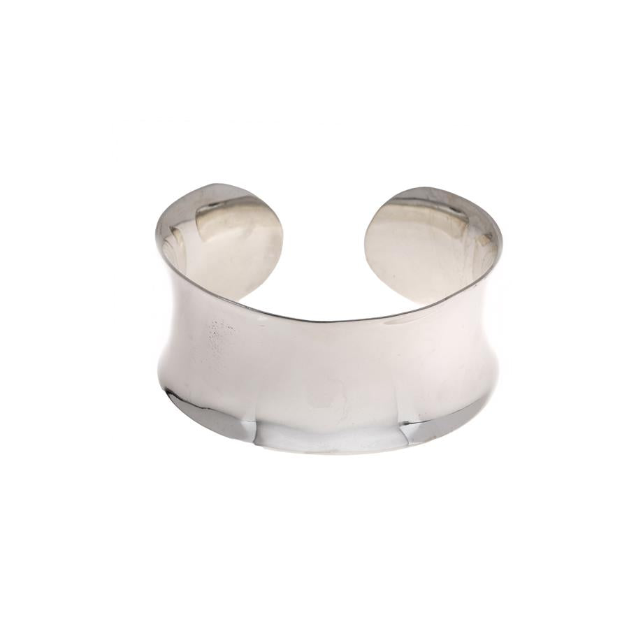 Pre-Owned Silver Concave Cuff Open Ended Bangle