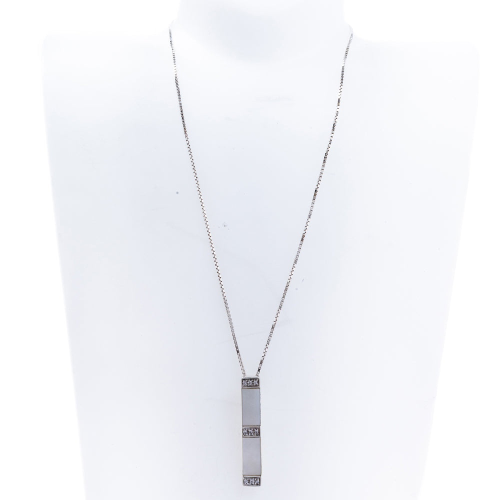 Pre-Owned Box Chain Bar Pendant Necklace