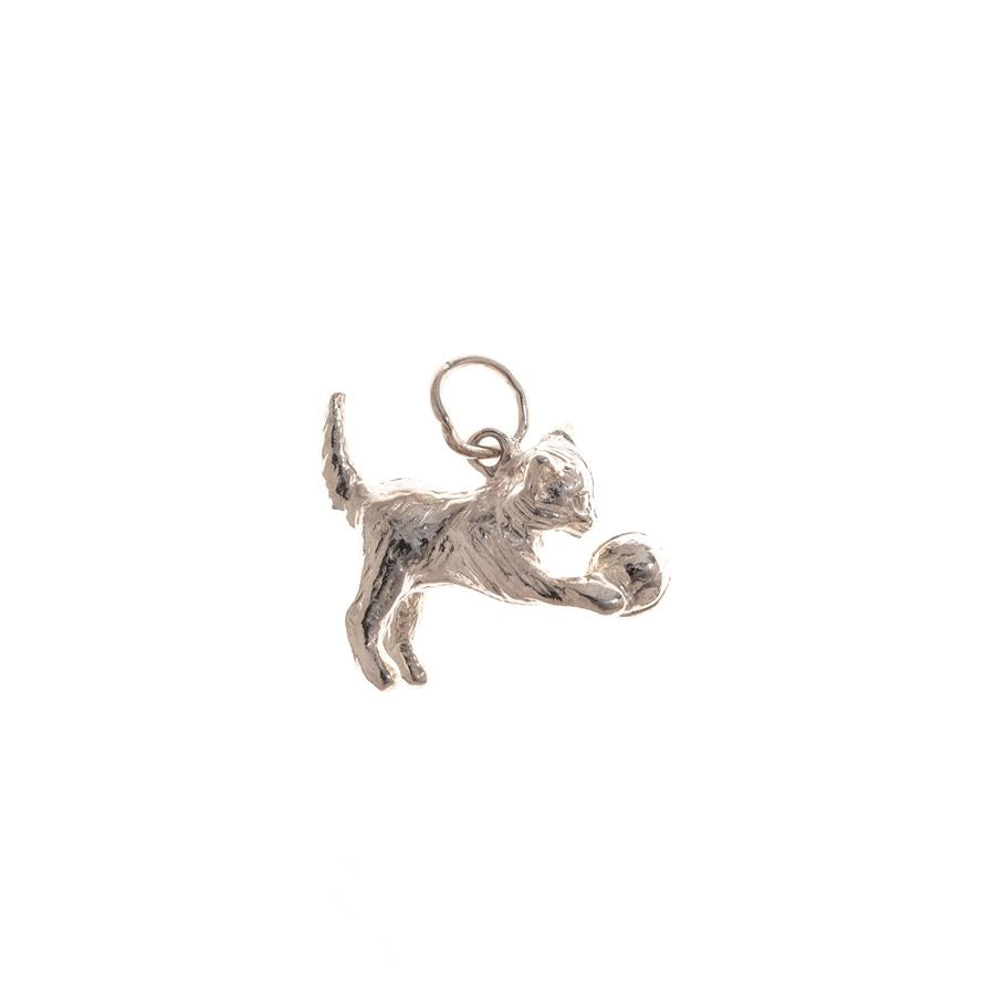 Pre-Owned Silver Cat With Ball Charm