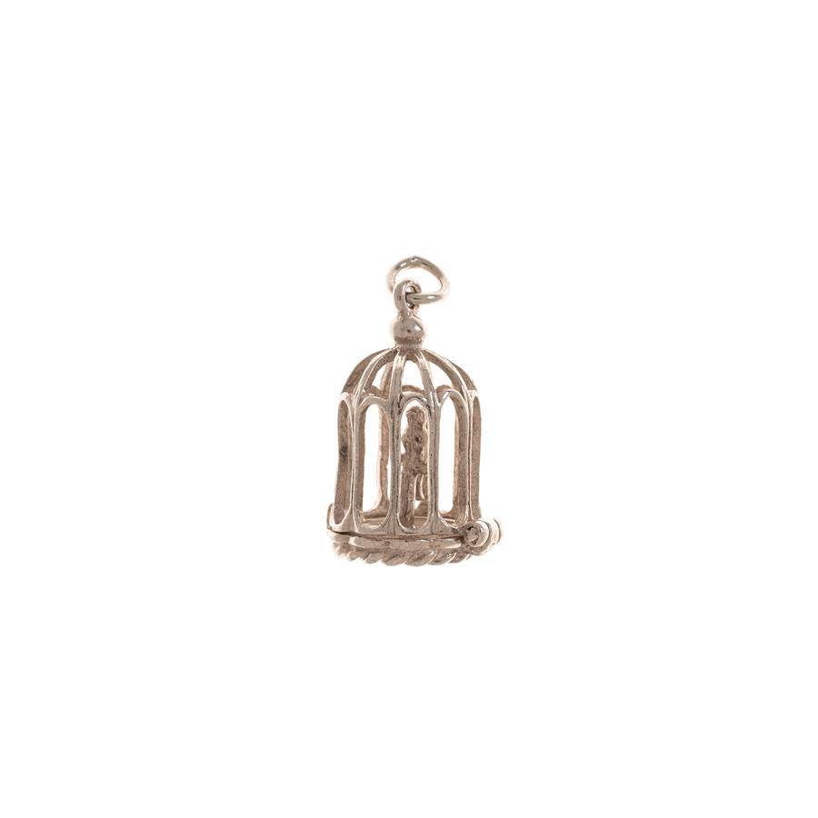 Pre-Owned Silver Bird In Cage Charm