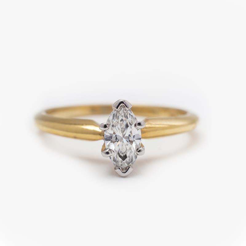 Pre-Owned 18ct Gold Marquise Diamond Ring
