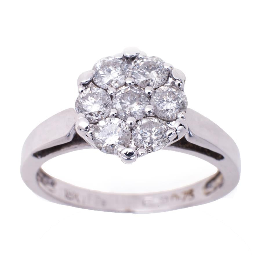 Pre-Owned 18ct White Gold 7 Diamond Cluster Ring