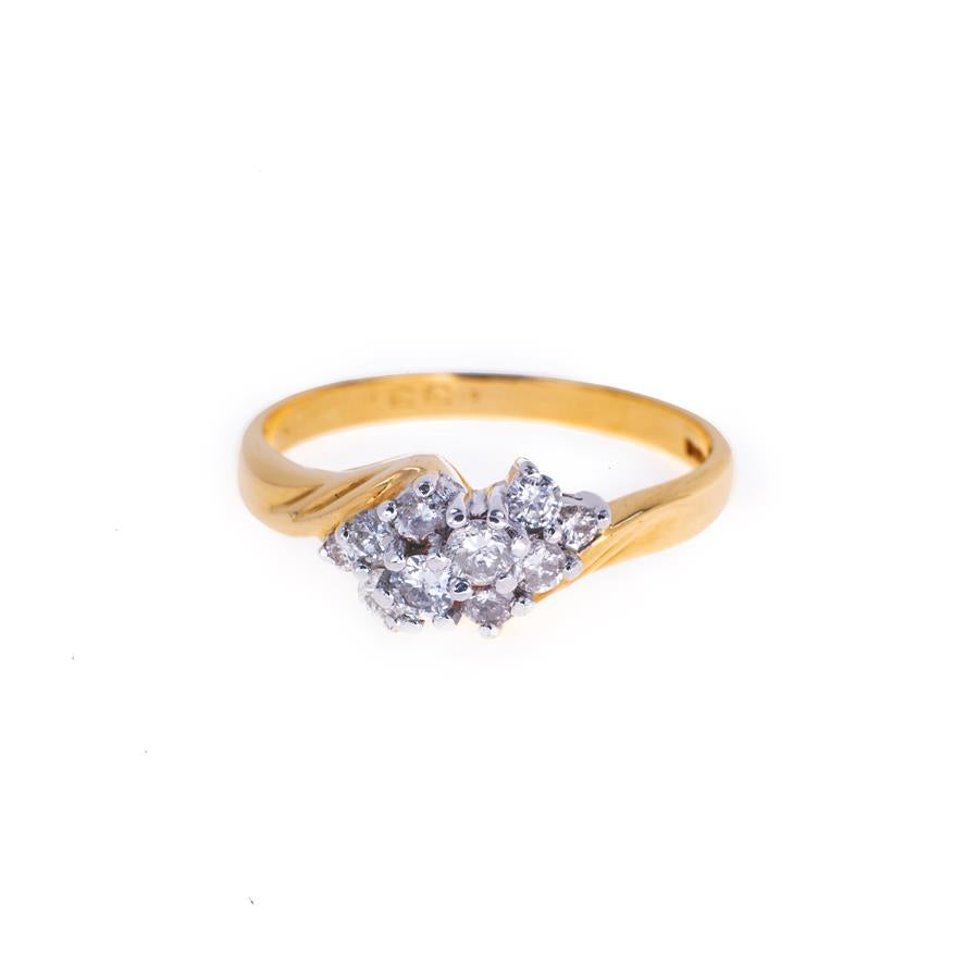 Pre-Owned 18ct Gold Diamond Cluster Twist Ring