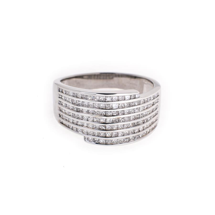 Pre-Owned 18ct White Gold 7 Row Diamond Ring