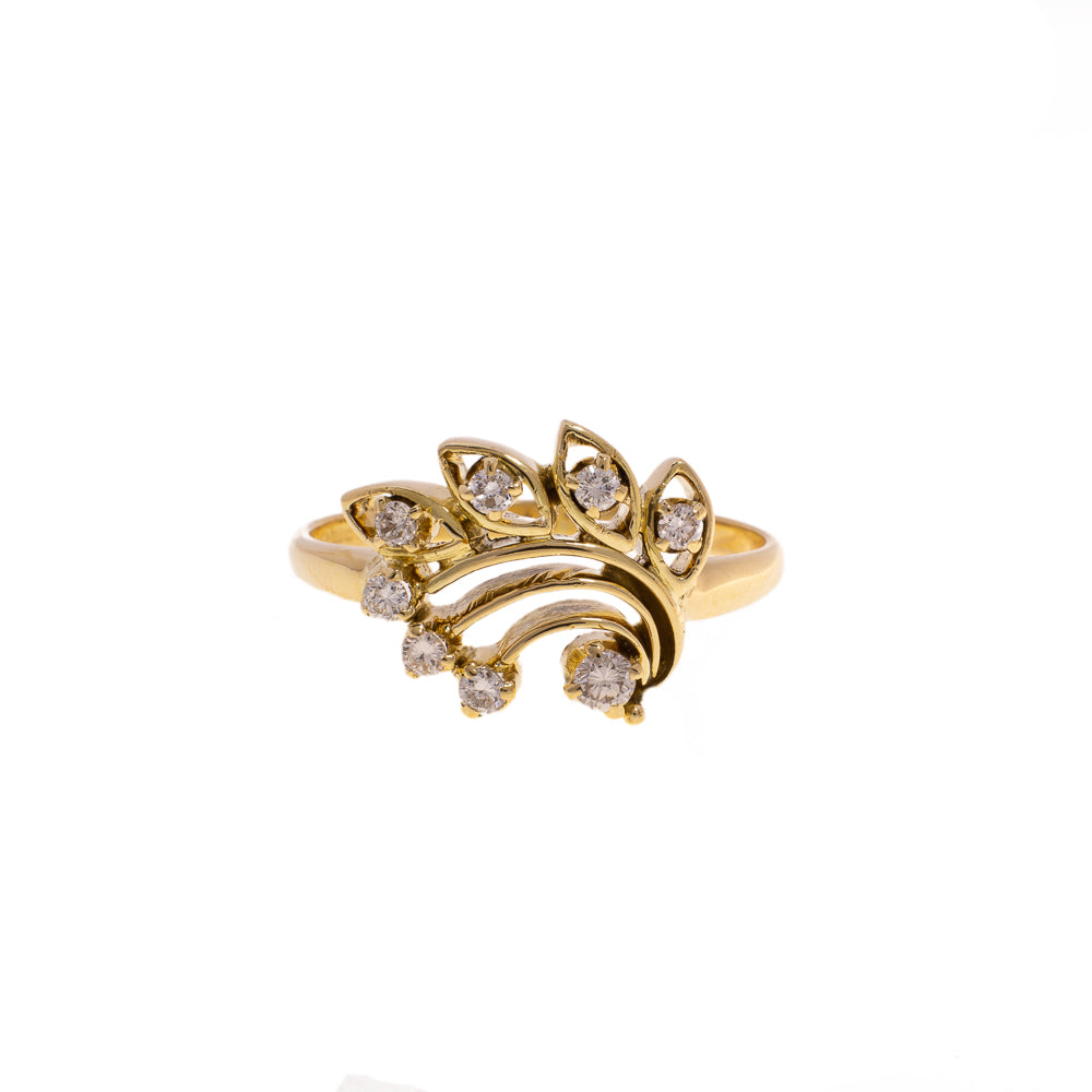 Pre-Owned 18ct Gold Diamond Ring Leaf Design