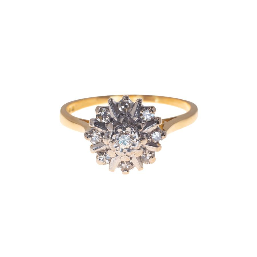 Pre-Owned 18ct Gold Diamond Flower Cluster Ring