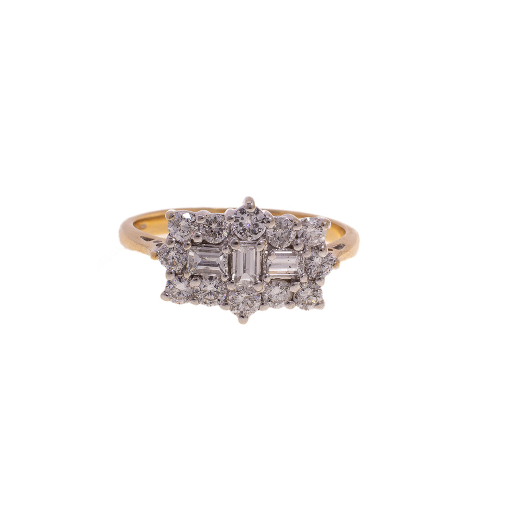 Pre-Owned 18ct Gold Rectangle Diamond Cluster Ring