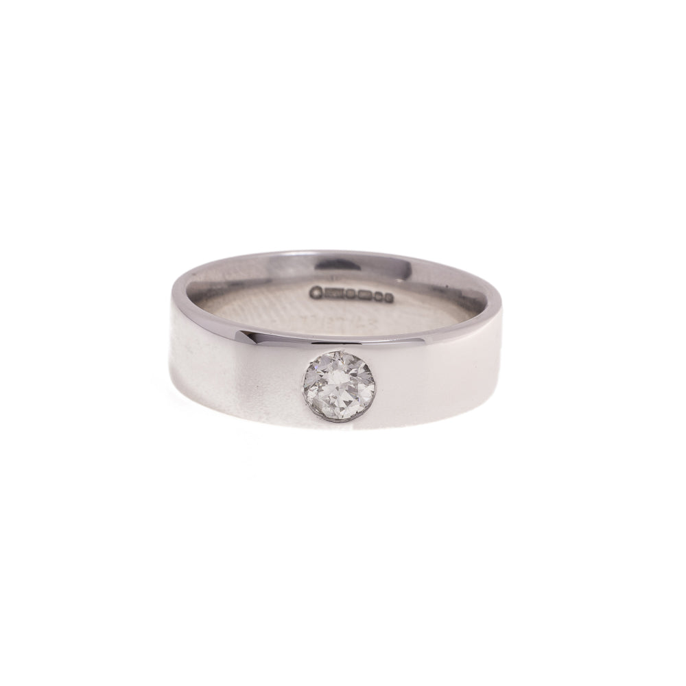 Pre-Owned White Gold Unisex Diamond Band Ring
