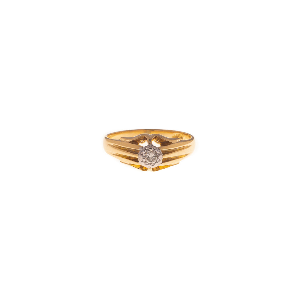 Pre-Owned 18ct Gold Gents Gypsy Set Diamond Ring