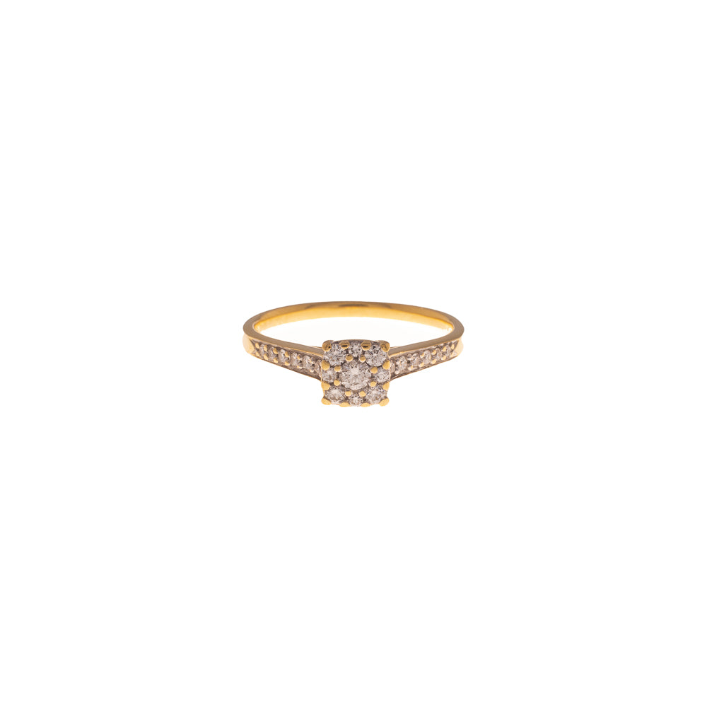 Pre-Owned 18ct Gold Diamond Square Cluster Ring