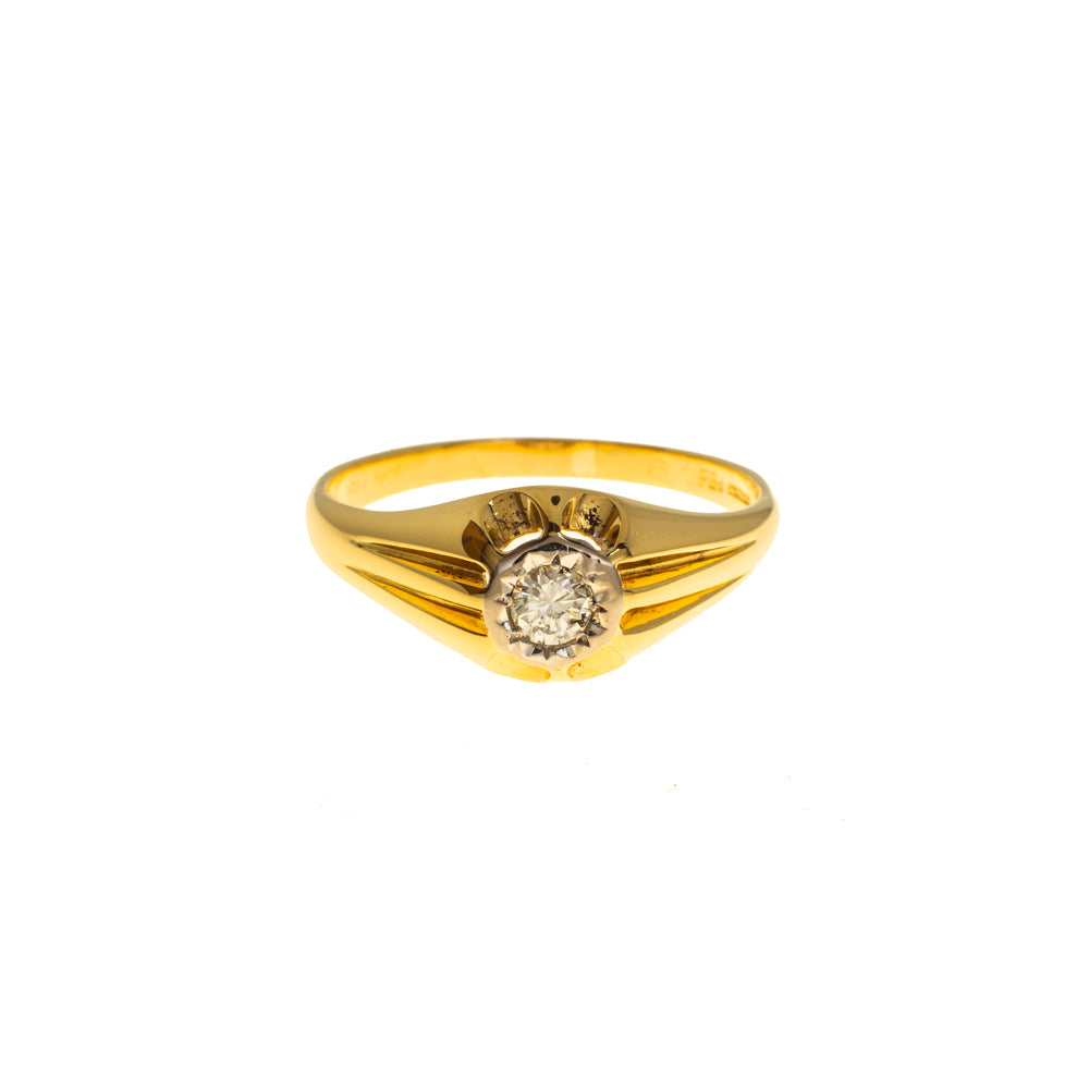 Pre-Owned 18ct Gold Solitaire Diamond Gypsy Ring