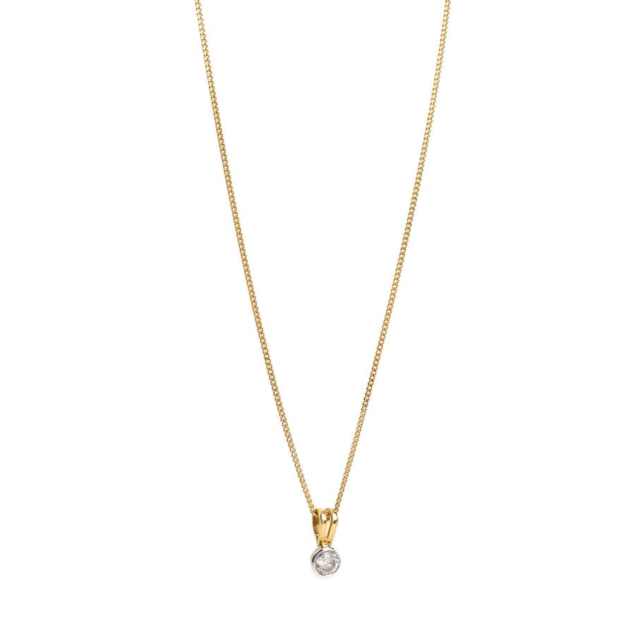 Pre-Owned 18ct Gold Round Diamond Pendant Necklace