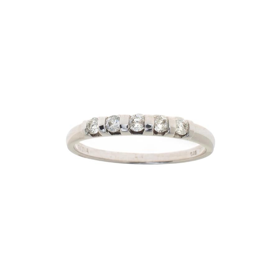 Pre-Owned White Gold 5 Diamond Tension Style Ring