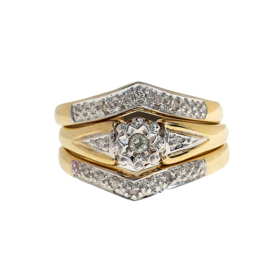 Pre-Owned 9ct Gold Set Of 3 Diamond Rings