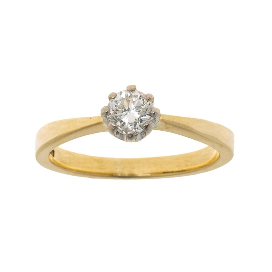 Pre-Owned 9ct Gold Round Solitaire Diamond Ring