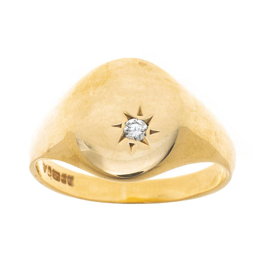 Pre-Owned 9ct Gold Diamond Oval Signet Ring