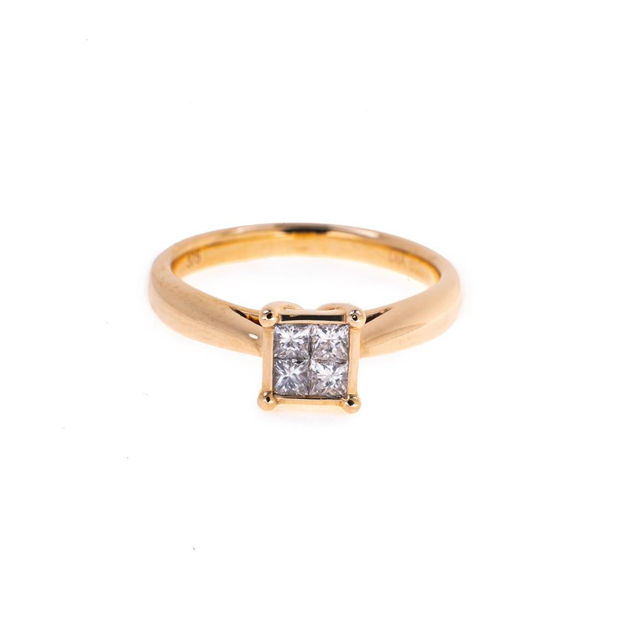 Pre-Owned 9ct Gold 4 Princess Centre Diamond Ring
