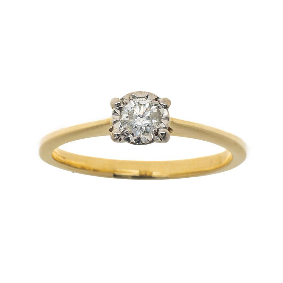 Pre-Owned 9ct Gold Solitaire Diamond Circle Ring