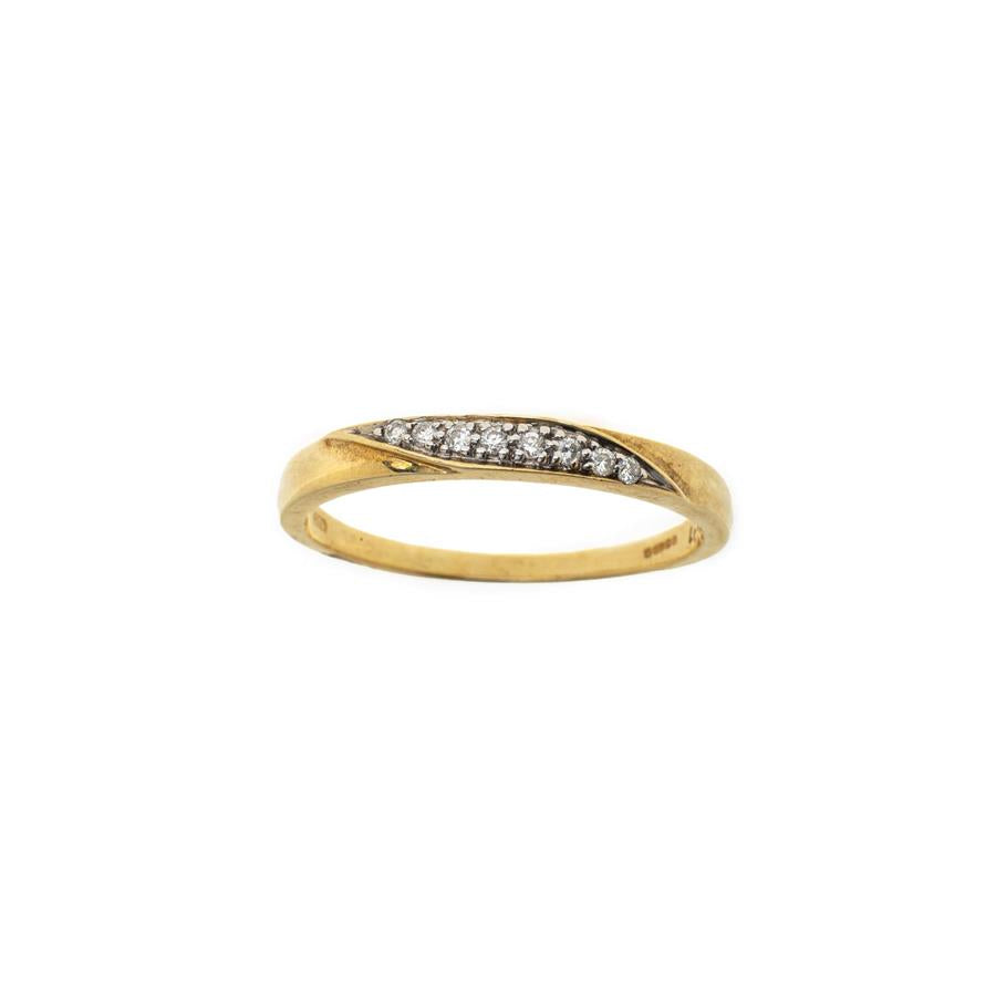 Pre-Owned 9ct Gold 8 Diamond Diagonal Ring
