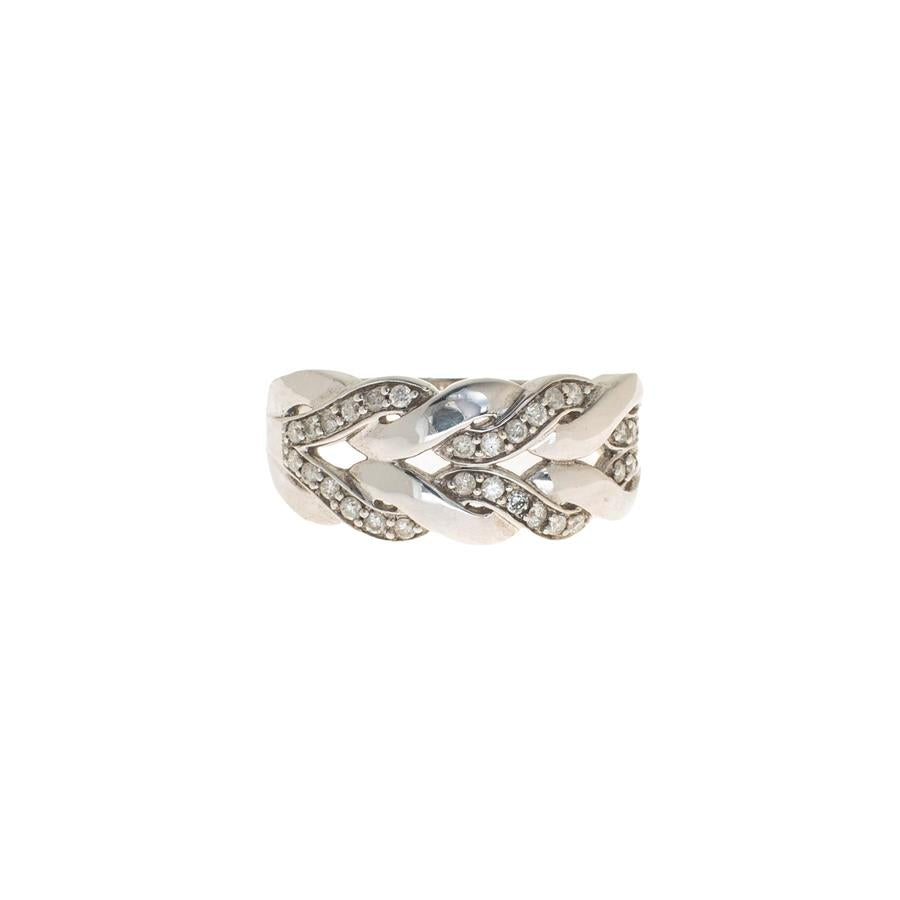 Pre-Owned 9ct White Gold Double Braid Diamond Ring