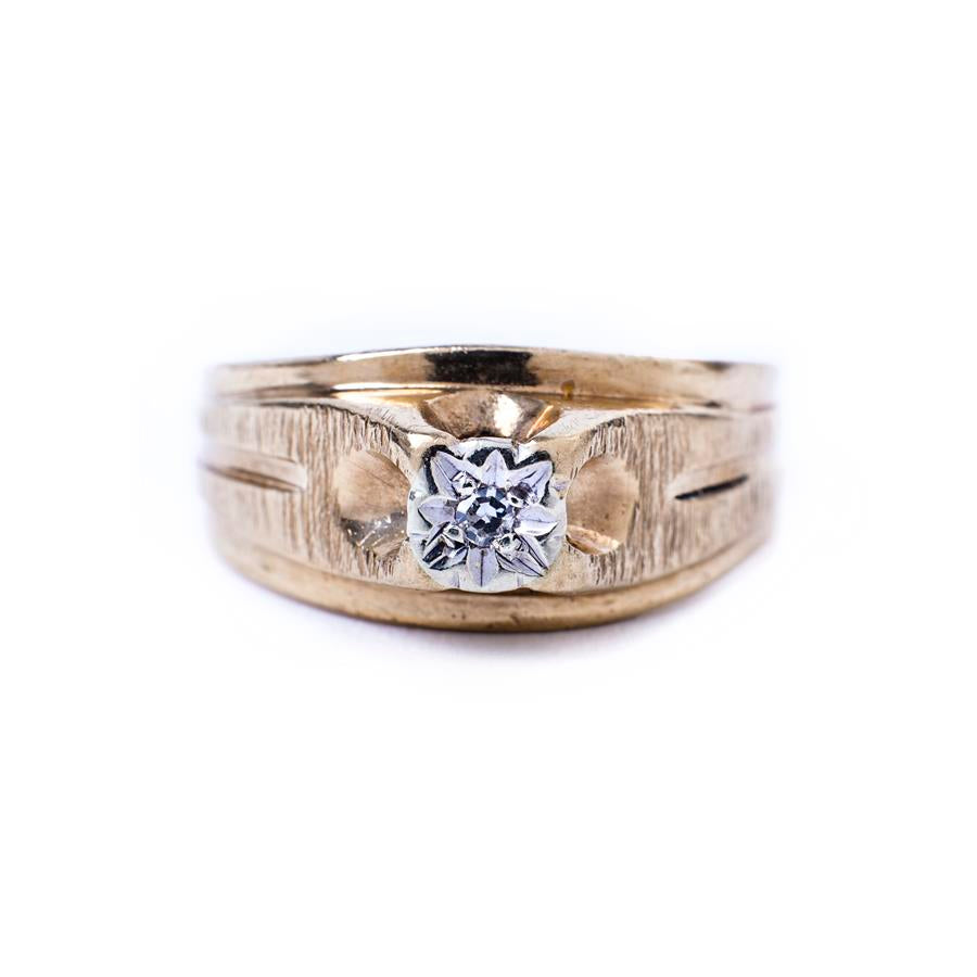Pre-Owned 9ct Gold Diamond Flower Illusion Ring