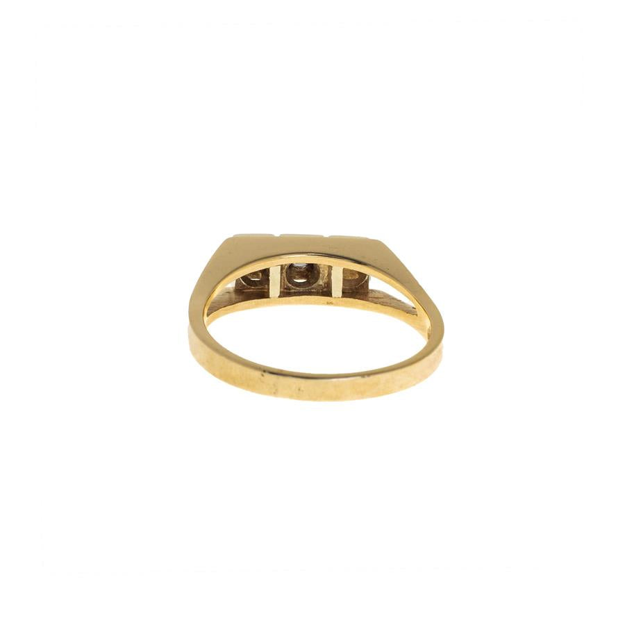 Pre-Owned 9ct Gold Three Diamond Square Set Ring