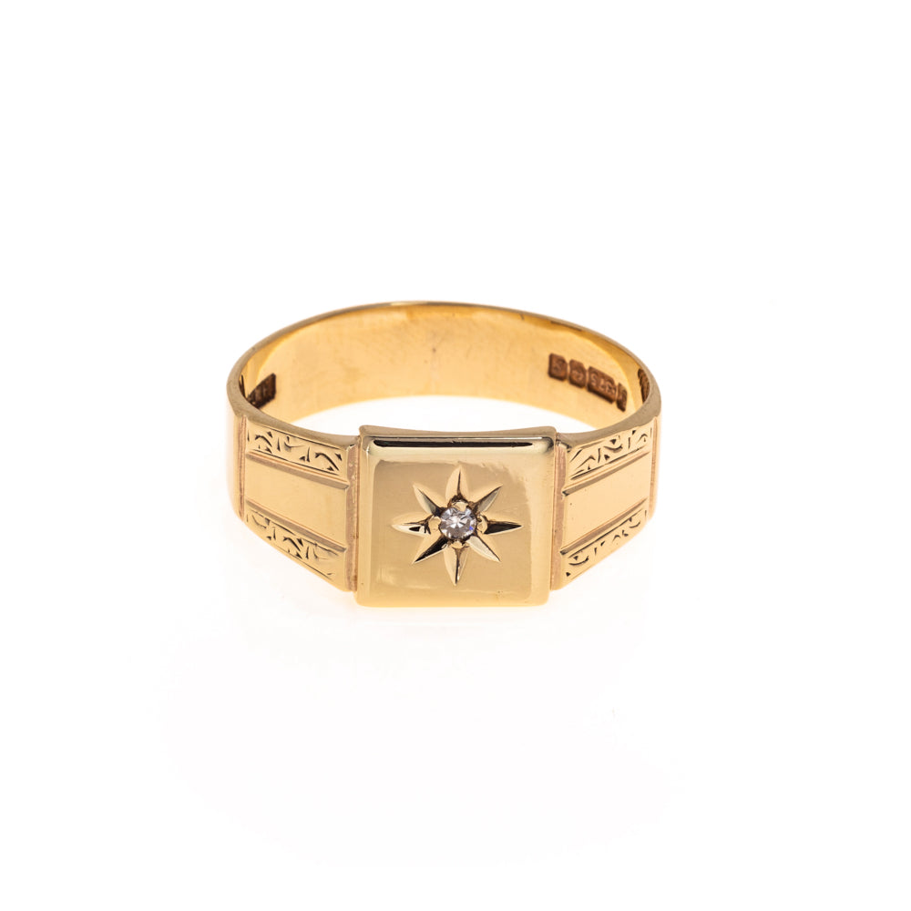 Pre-Owned 9ct Gold Square Diamond Signet Ring