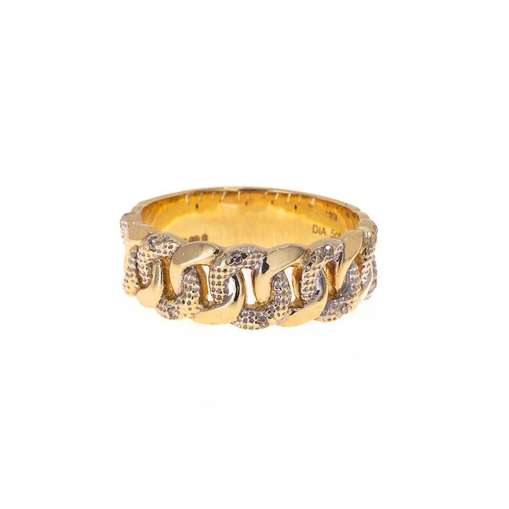 Pre-Owned 9ct Gold Diamond Curb Chain Men Ring