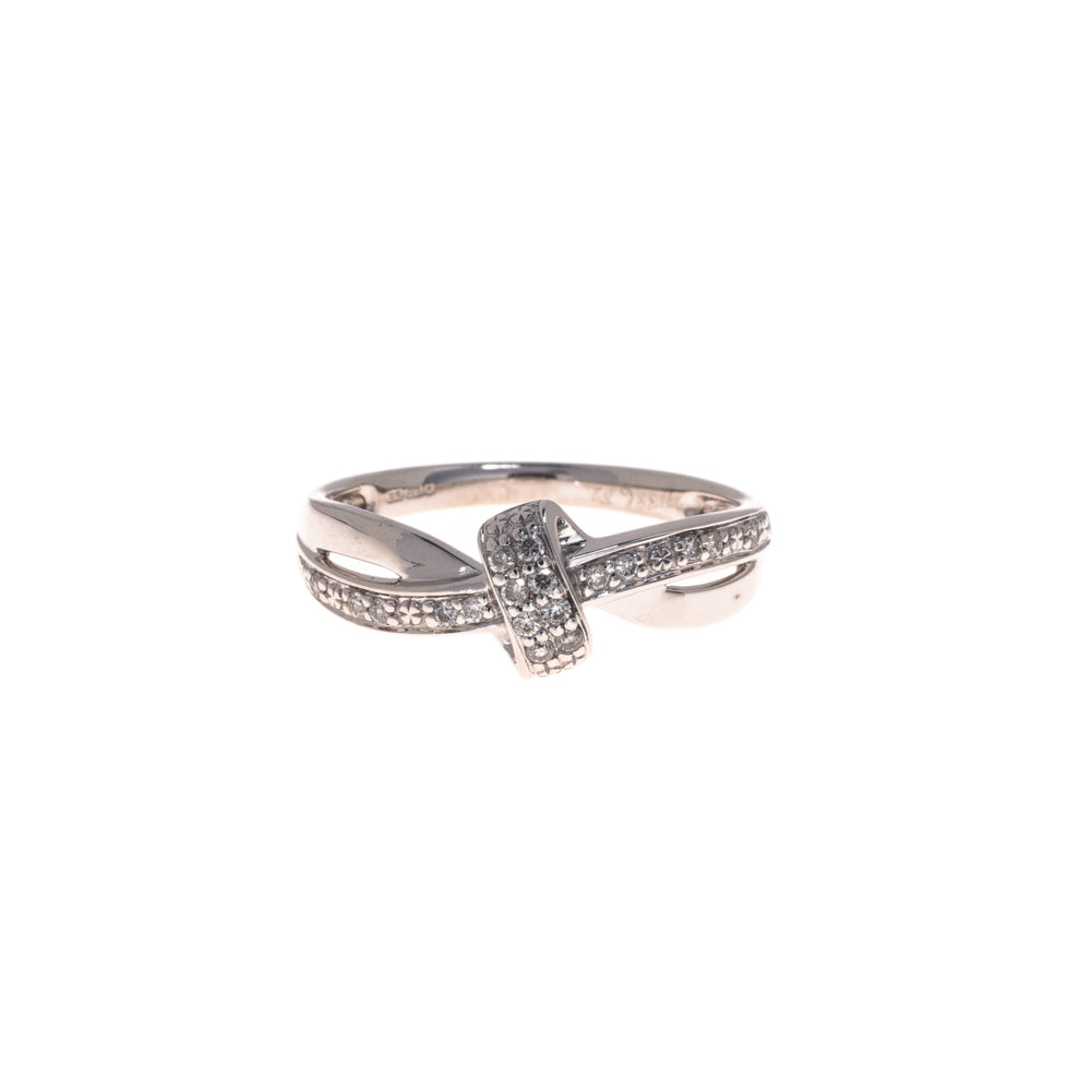 Pre-Owned 9ct White Gold Diamond Knot Ring