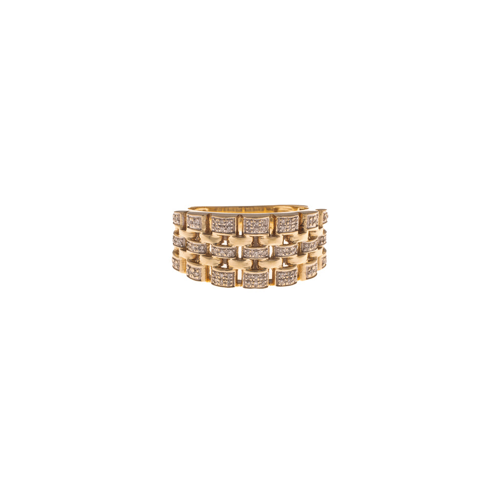 Pre-Owned 9ct Gold Diamond Watch Link Design Ring