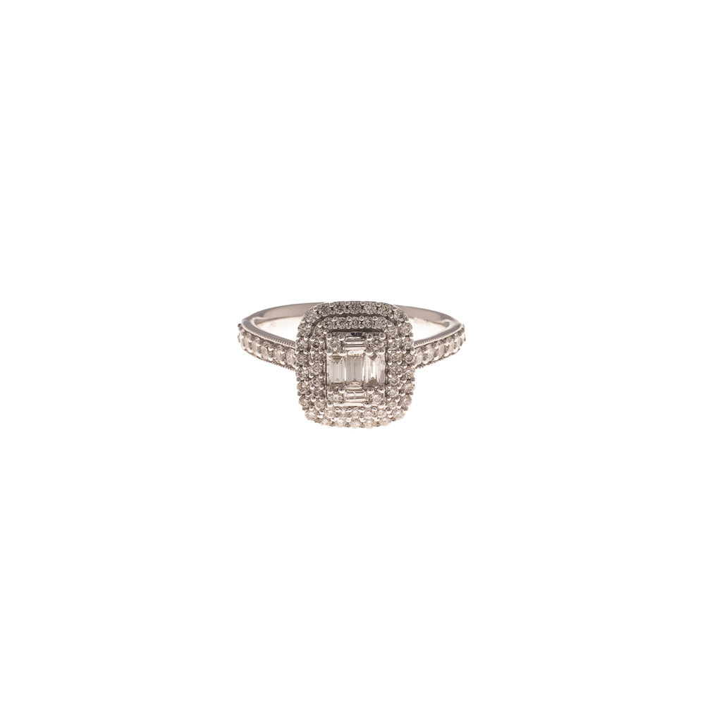 Pre-Owned White Gold Diamond Rectangle Halo Ring