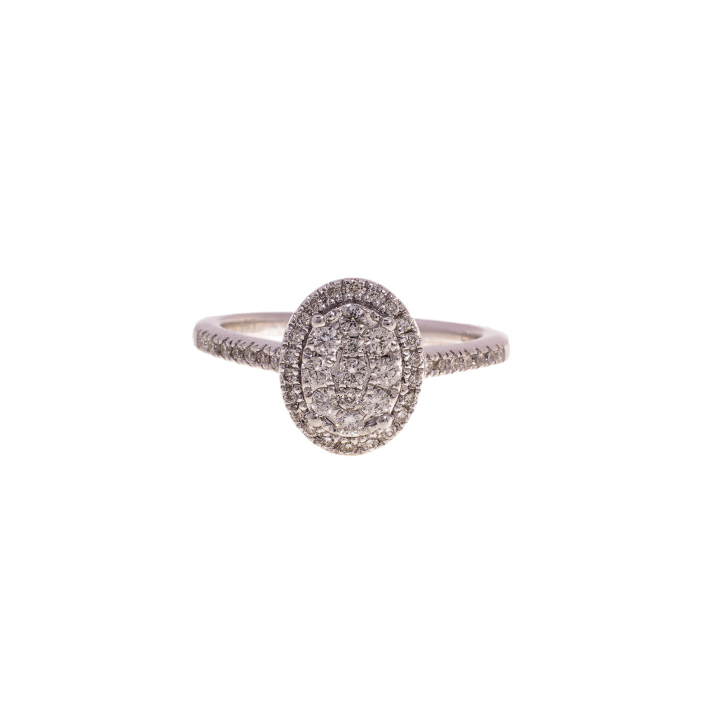 Pre-Owned Oval Diamond Ring Dia Shoulders