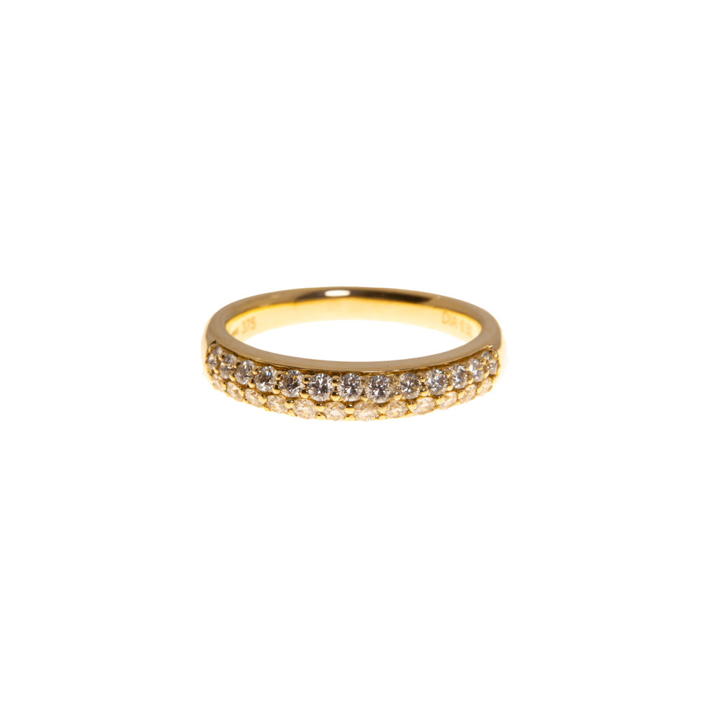 Pre-Owned Gold 2 Row Diamond Half Eternity Ring